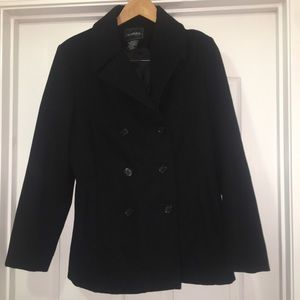 Outbrook Black Wool Pea Coat Jacket Size 8/10